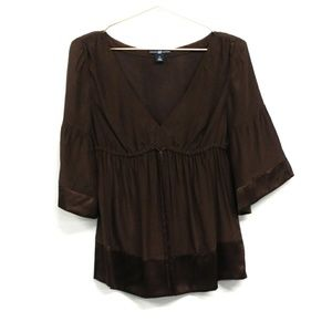Gap 100% Silk Empire Waist V-Neck Top - Size Small